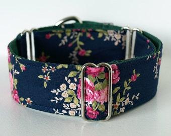 Martingale Dog Collar, Handmade In Ireland. Navy & Pink