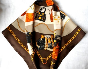 WALBUSCH Scarf,  100% Silk,  Chains and Bags Design,  Foulard Walbusch, Square Scarf, Vintage Scarf