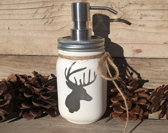Mason Jar,Soap Dispenser,Deer Head Decor,Bathroom Deer Decor, Rustic Lodge Bathroom, Cabin Decor, Rustic Cabin Decor, Bathroom Decor, Hunter