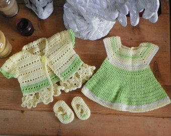 Yellow and Green Dress, Cardigan and Booties