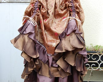 Gold and Dusty Pink Two Tiered Steampunk Skirt