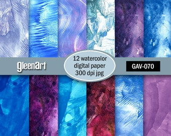 50% Off Sale - Watercolor digital paper, Scrapbooking watercolor paper, Textured digital paper - INSTANT DOWNLOAD