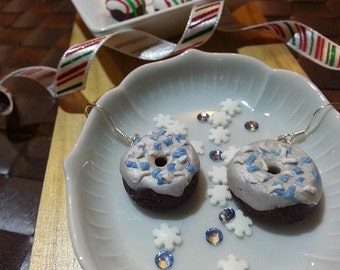 Chocolate Donuts with White Frosting and Winter Sprinkles Handmade Polymer Clay Earrings