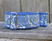 Paisley Print Fleece Lined Limited Slip Martingale Collar, Sight Hound Martingale, Fleece Whippet, Greyhound, Saluki Collar, Wide Martingale