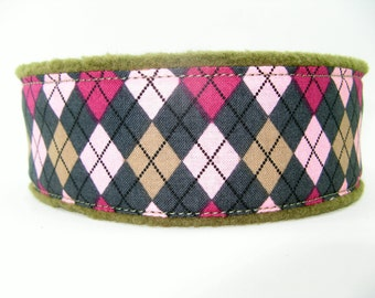 Argyle Martingale, Soft Dog Collar, Argyle Fleece Martingale, Fleece Lined Martingale, Fleece Whippet Collar,  Argyle Greyhound Collar