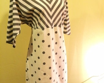 Vintage Dolman Sleeve Dots & Stripes Dress