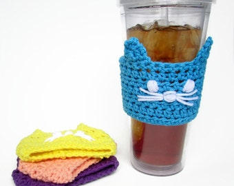 Cat Cup Sleeve - Cold Drink Cozy - Cat Tumbler Sleeve - Cat Beverage Sleeve - Iced Coffee Sleeve