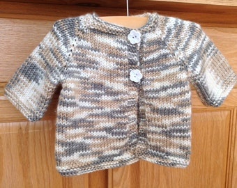 Hand Knit Baby Sweater, Baby Cardigan, Baby Button Down Sweater, 3-6 Month Sweater, 3-6 Month Cardigan