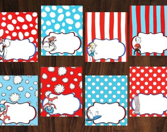 """Tent Labels (8) ~ """"The Cat In The Hat"""" Theme ~ INSTANT DOWNLOAD"""
