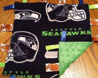 Seahawks baby lovey lovie Taggy Taggie ribbon sensory cuddle minky dot security blanket ready to ship baby shower