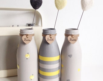 Set of three hand painted mini milk bottles - home sweet home