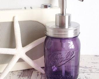 Purple Ball glass mason jar soap dispenser with silver metal lid