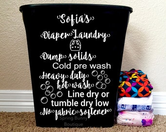 Personalized Cloth diaper pail decal, cloth diaper laundry vinyl wall decal, new baby, laundry room decal, baby shower gift, crunchy mom