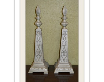Pair of Neo-Classic Style Decorative Pewter Accent w/Finial