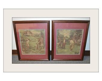 Pair of Vintage Golfer Prints