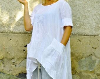 White Linen tunic/Woman maxi tunic/Long white loose tunic/100% linen caftan/Oversize tunic/Handmade tunic/Casual tunic top/Long dress/T1489