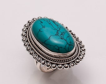 925 Solid Sterling Fine Silver Turquoise Ring
