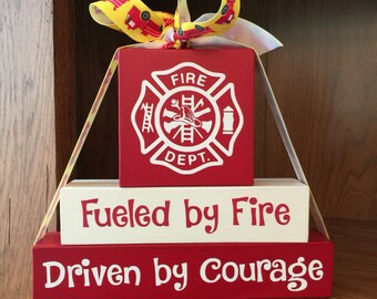 Firefighter Decor   Fireman Decor   Gift for Firefighter   Gift for Fireman    Wood BlocksFirefighter decor   Etsy. Firefighter Room Decorations. Home Design Ideas