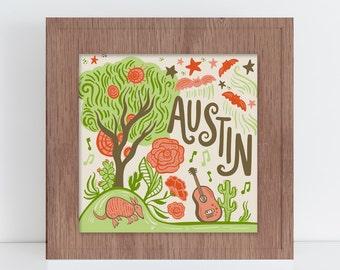 8X8 Austin Texas Illustration Art Print - Hand lettered music bats and armadillo fine art home decor
