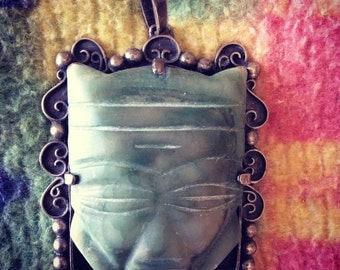 "Large sterling silver and jade Mexican Aztec  pendant/brooch! 3""x4"""