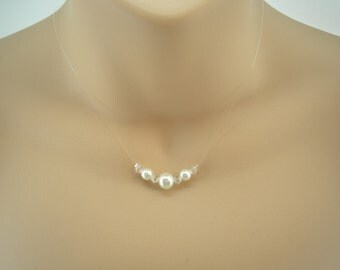 Louisa ~ Dainty Pearl & Clear Crystal Floating Illusion Necklace, Wedding Necklace, Bridal Jewelry, Bridesmaids Necklace (9fi)