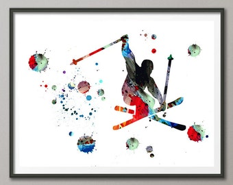 Freeride Skier watercolor print ski jump poster downhill skiing illustration ski art print freeride powder skiing sport art ski art [296]