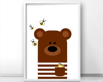 Bear Nursery Art, Animal Nursery Print, Kids Wall Art, Printable Nursery Decor, Instant Download Kids Room Decor, Baby Animal Wall Art Print