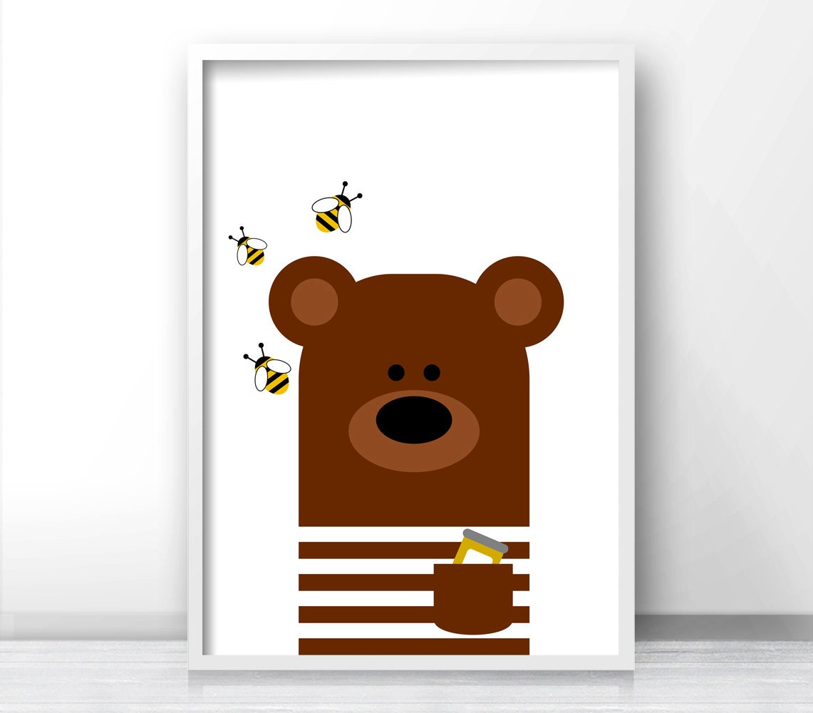 Bear nursery art animal nursery print kids wall art for Nursery wall art