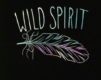 wild spirit shirt, holographic shirt,holographic,Feather Shirt,boho shirt, bohemian shirt, statement shirts, inspirational shirt