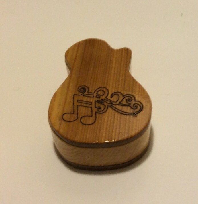 made to order wooden guitar pick box shaped like electric. Black Bedroom Furniture Sets. Home Design Ideas