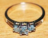 Natural Diamond- Greenish Blue diamond Ring- Uncut Raw Rough diamond ring- 925 sterling silver Ring- Engagement Wedding ring- Rustic Diamond