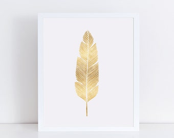 Modern Minimalist Gold Feather Print, Bohemian Wall Decor