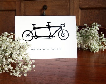 We're So In Tandem Card - Bike/Cyclist/Cycling Card, Love Card, Friend Card, Note Card, Blank Card, Greetings Card