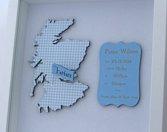 personalised baby boy christening gift with map of Scotland,England, Ireland or Wales