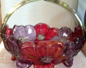 Westmoreland Dogwood Split Handle Irridescent Amethyst and Cranberry Glass Basket