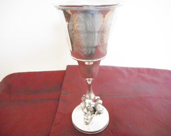Antique silver plate Chalice With Etchings & Fish Life At Base