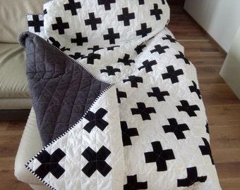 Plus Quilt / Swiss Crosses Quilt / Black & White Quilt / Modern Quilt /  Minimalist Quilt / Throw Quilt / Twin Quilt / Quilt for Sale