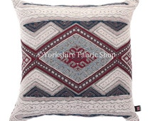New Soft Woven Chenille Fabric Cream Wine Red Blue Aztec Kilim Pattern Cushion - 4 sizes Available - British Handmade - Cushion Cover Only