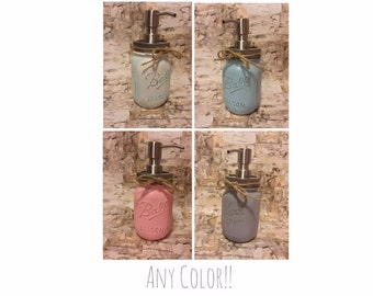 Ball Mason Jar Soap Pump Dispenser - Any Color, Size or Style Available - Chalk Paint