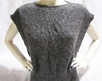 70s Tank Large Sleeves / Anthracite + merinowolle / Point Italy