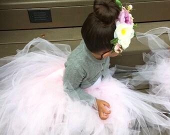 flower girl tutu skirt floor lenght tulle skirt long tutu flower girls tutus custom tutu flower girl tutu dress toddler girls long tutu