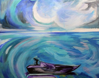 Blue Boat Abstract Painting
