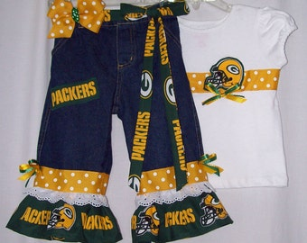 Custom boutique girls NFL jeans set all teams Seahawks Patriots Cowboys Steelers Lions Giants Packers Eagles Colts Bears Falcons Saints
