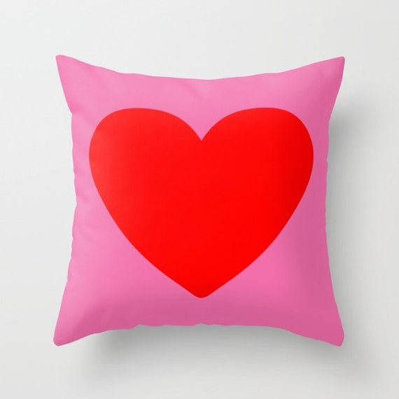 Red Heart Decorative throw pillow by TheRedUmbrellaShop on Etsy