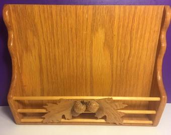 Decorative Acorn Wall Hanger Letter Holder Handmade