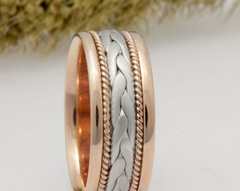 8mm 14K Two Tone Gold Hand-Braided Comfort Fit Wedding Band, Gold Rings, Braided Rings, Rose gold ring, White gold ring