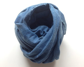 Raw Silk Scarf Naturally Dyed with Indigo