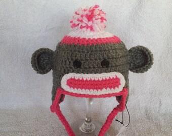 Sock Monkey Hat, Crochet Hat, Crochet Hats for Kids, Crochet Sock Monkey, Trapper Hat, Earflap Hat, Winter Hat, Handmade