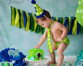 SALE! Cake Smash Outfit- YOU CHOOSE your options/Birthday hat tie diaper cover/green & royal blue polka dot bloomers