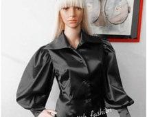 Black Satin Blouse/ Puffy Sleeves Shirt For Women/ Designer Top/ Size S, M, L, XL, 2XL, 3XL Prom Top/  Vintage Top/ Lolita Blouse/Edwardian